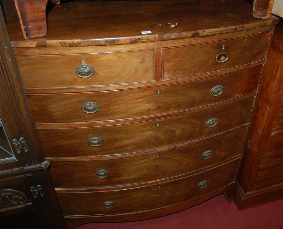 A mid-19th century mahogany bowfront chest of two short over four long graduated drawers