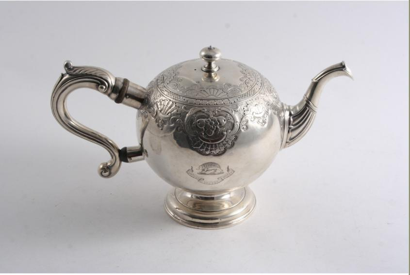 A GEORGE II SCOTTISH BULLET TEA POT