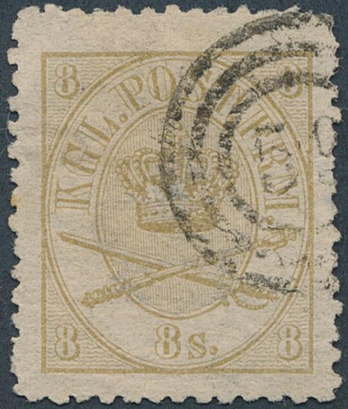 1864. 8 sk. Yellow brown, (1870) line perforated 12 1/2. Very fine used