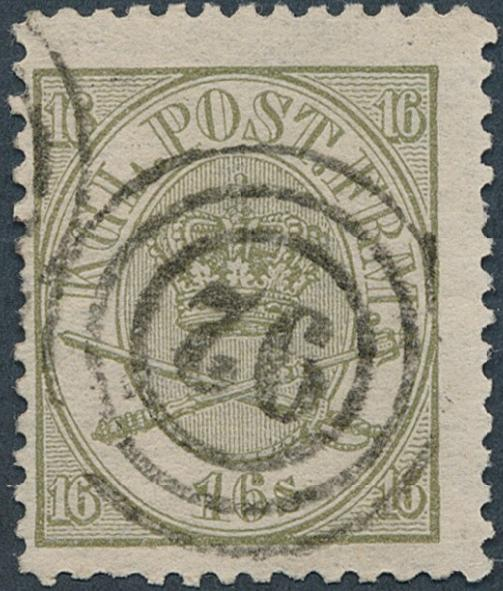 1864. 16 sk. Olive, (1870) line perforated 12 1/2. Fine used copy. AFA 12.000