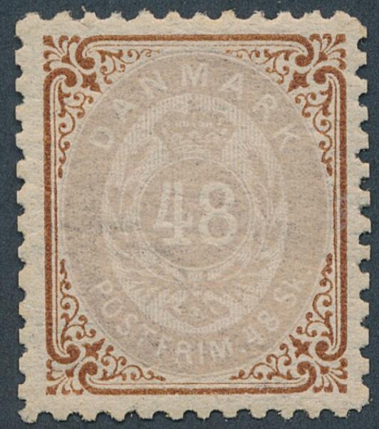 1870. 48 skilling, brun/lilla. Pænt ubrugt mærke med svagt hængselspor. AFA: 4000