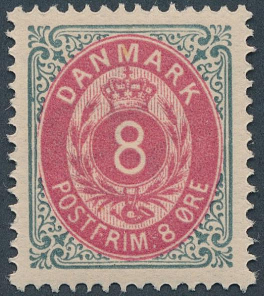 1886. 8 øre, grey/aniline, 43.printing. Perfect NH copy. AFA 2400. Cert. Nielsen: Luxuseksemplar (2004)