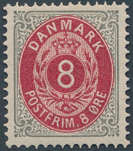 1875. 8 øre light grey