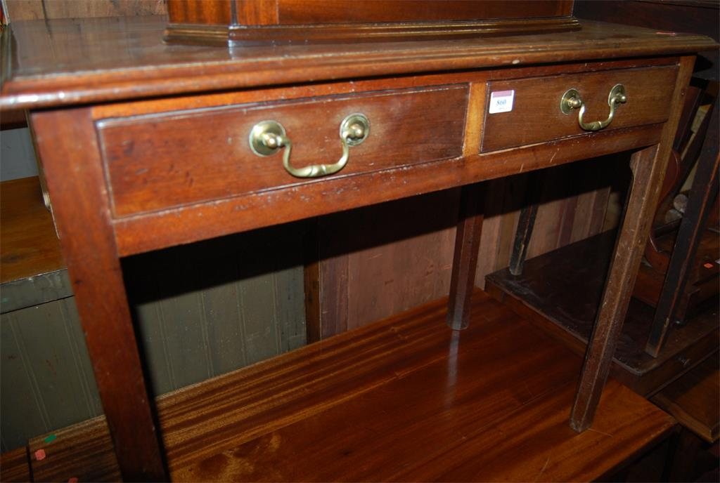 A George III mahogany two drawer side table