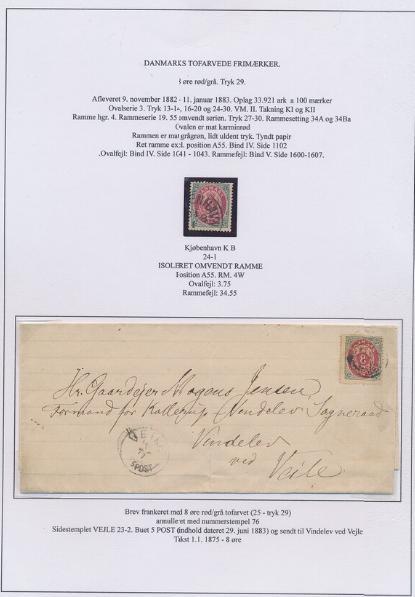 1875. 8 øre, 29.tryk. Udstillingsplanche med bl.a. pos. A55 ISOLERET OMVENDT RAMME
