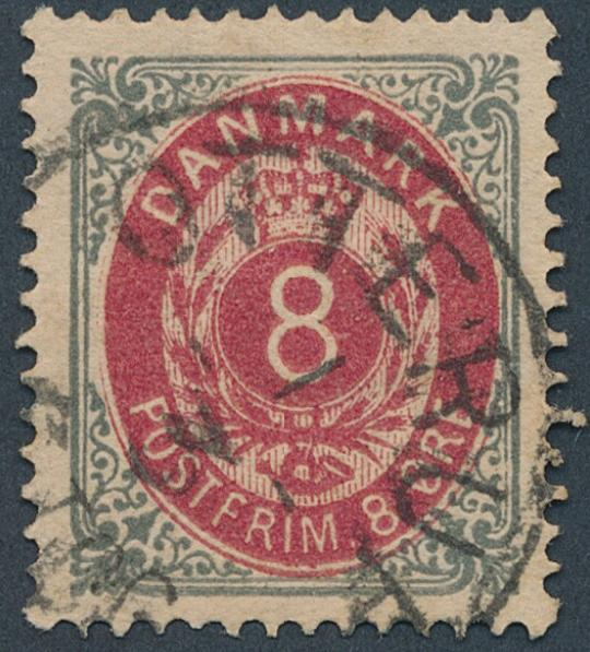 1875. 8 øre inverted frame