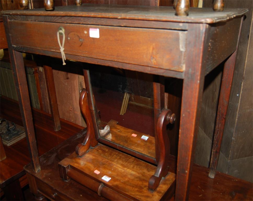 A George III mahogany single drawer side table (lacking handle)