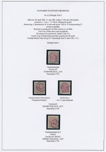 1875. 12 øre, 9.tryk. Udstillingsplanche med bl.a. pos. A34 STOR PERLEFEJL og pos. A20 LILLE PERLEFEJL
