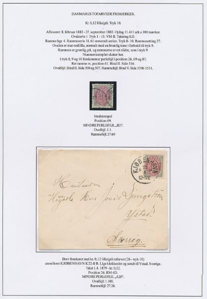 1875. 12 øre, 10.print. page with 2 minor PEARL-FLAWS. One on fine cover to Sweden. Scarce