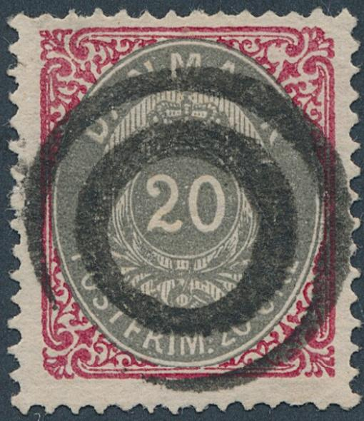 1875. 20 øre red/grey. 7.printing, pos. 83. PEARL-FLAW. Nice canc. copy. Lower left cornerperf. with bend. Cert. Nielsen