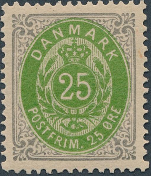 1875. 25 øre grey/green, 5.printing, inverted frame. Perfect NH copy. LUX. AFA 2600+