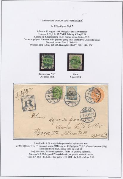 1875. 25 øre, 5.print (inverted frame). 2 pages with better stamps and one cover
