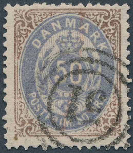 1875. 50 øre, 1. Print b, blue-purple