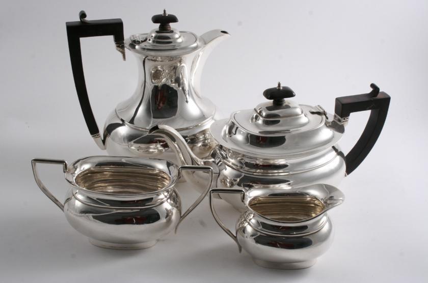 A MODERN FOUR-PIECE TEA SET