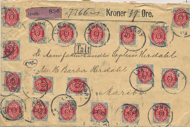 1895. 8 øre, grey/red, perf.12, inverted frame. 19 copies on very decorative insured cover