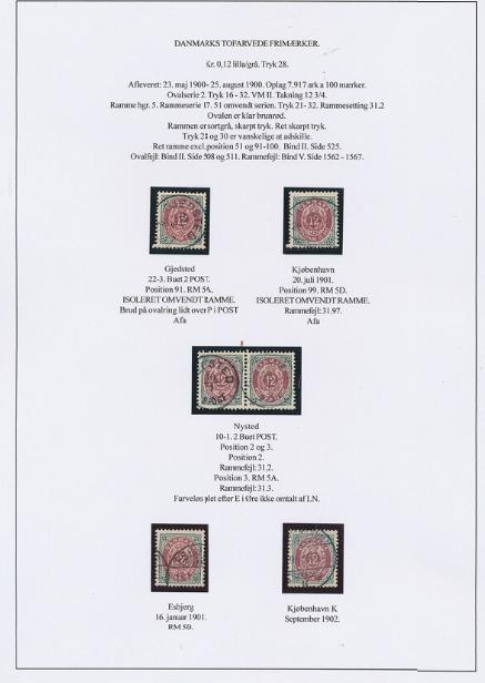 1895. 12 øre, 28.print. Page with 6 used stamps incl. 2 copies with INVERTED FRAMES