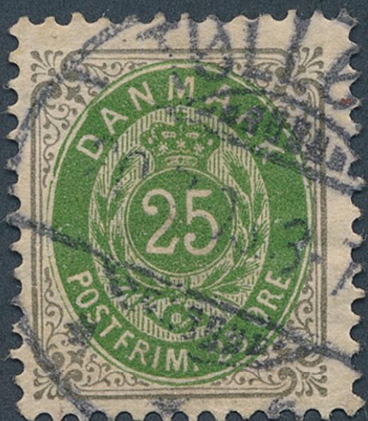 1895. 25 øre, grey/green, perf.12
