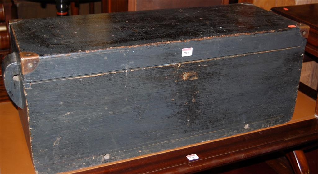 A 19th century black painted and brass bound hinged top tool chest
