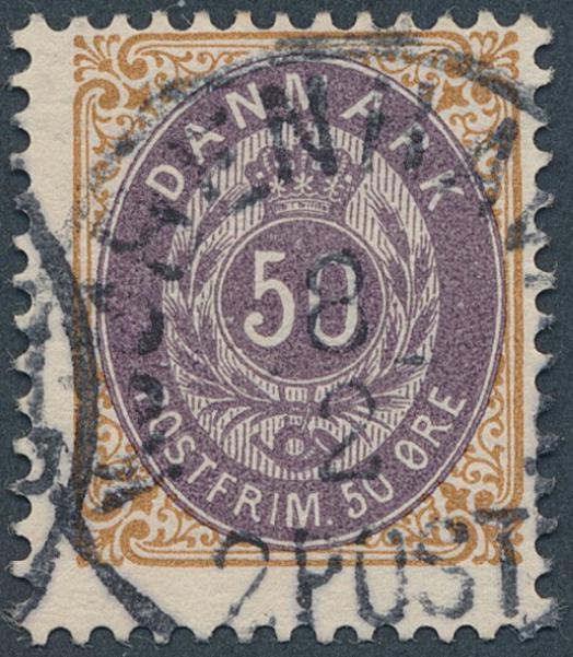 1903. 50 øre, brown/purple, wmk.III, inverted frame