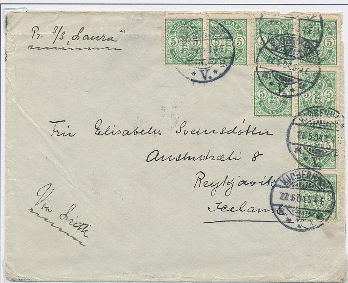 1902. 5 øre, green. 2 scarce covers