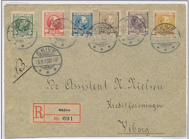 1904-1905. Chr.IX. 5 øre - 100 øre. 6 diff. values on REC-cover from Skive 15.4.07