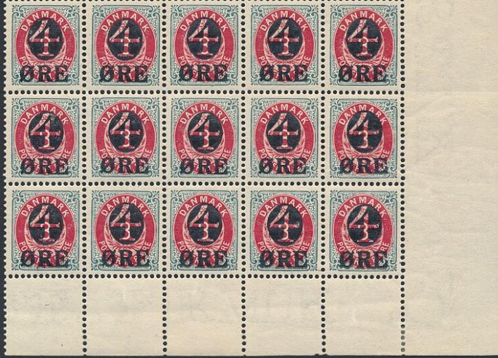1904. 4/8 øre, grå/rød. Vm. II. (1912). Postfrisk nedre marginal 15-BLOK med 2 varianter i pos