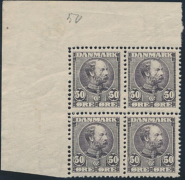 1905. Chr.IX, 50 øre, brown-purple. SUPERB NH block of 4