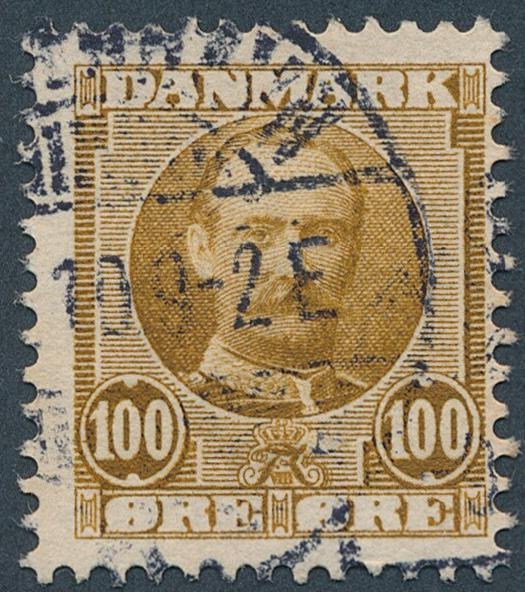 1907. Fr. VIII. 100 øre, yellow-brown. VARIETY. Used copy of this rare variety. AFA 8500. Cert. Nielsen