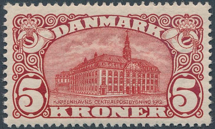 1912. 5 Kr. General post office, brown-red. Vm.III. Perfect NH copy. AFA 9000+. Cert. Nielsen: Luxuseksemplar (2015)