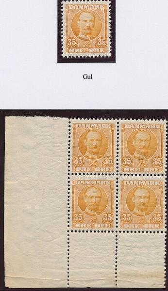1912. Fr. VIII. 35 øre, yellow. 2 pages with NH copies