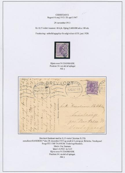 "1913. Chr.X, 15 øre, purple. Variety ""Heart over N"". Loose copy + some on postcard"