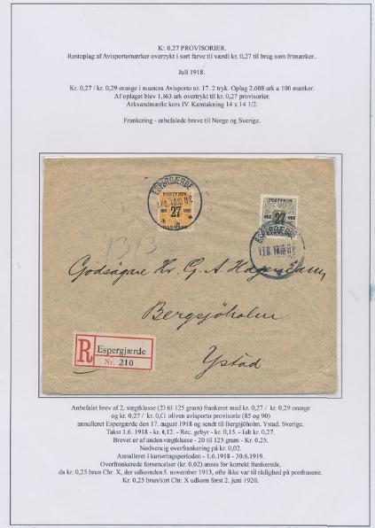 1918. 27/1 øre, oliven og 27/29 øre, orange. REC-brev af 2.vægtklasse fra Espergærde 17.8.1918 til Ystad