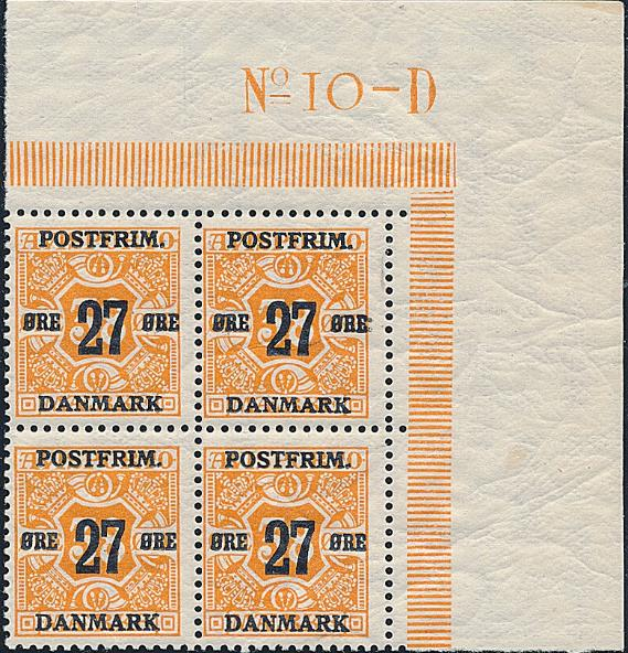 1918. Overprint. 27/38 øre, orange. SUPERB blocks of 4 with full corner margin