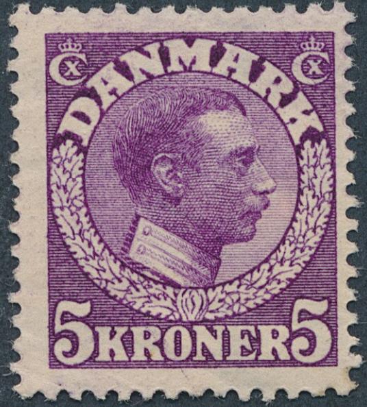 1918. Chr.X, 5 kr. DEEP RED-VIOLET. Rare NH stamp. AFA 10.000
