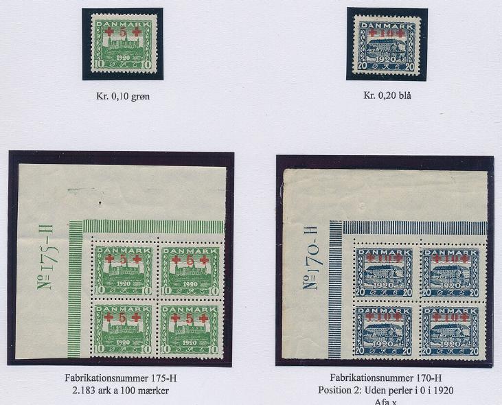 1921. Genforening Røde Kors. Udstillingsplanche med komplet postfriskt sæt samt komplet sæt i postfriske øvre marginalblokke