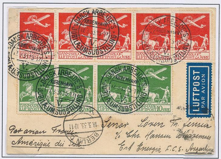1925. Gl. Luftpost, 10 øre, grøn (4-stribe) og 25 øre, rød (5-stribe)