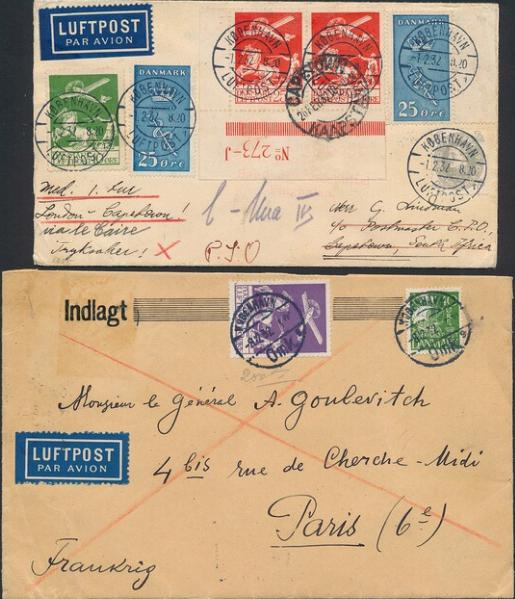 1925. Airmail. 2 covers incl. insured cover missing one stamp