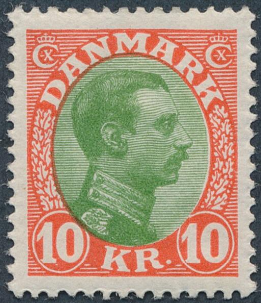 1927. Chr. X. 10 Kr. red/green... Perfect centric unused copy