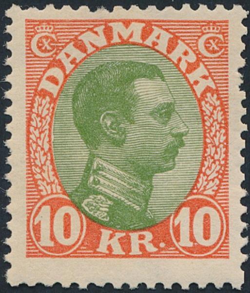 1927. Chr. X. 10 Kr. red/green..