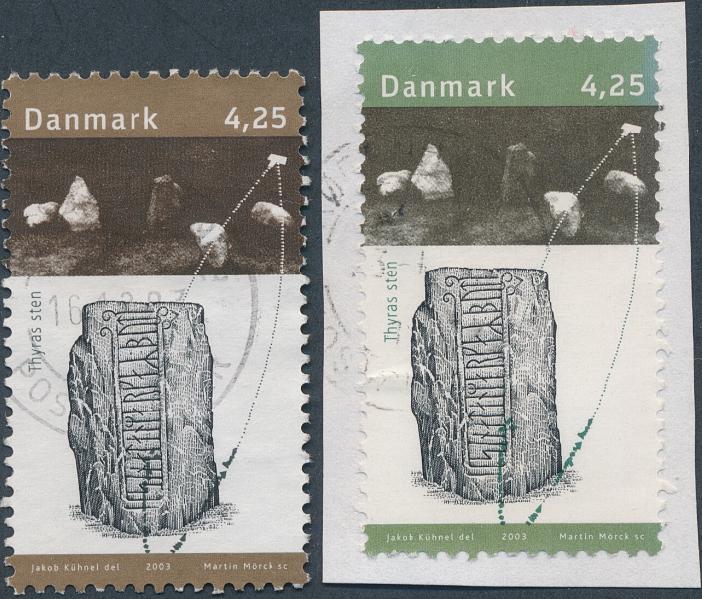 2003. Kongens Jelling. 4,25 kr. GRØN/sort istedet for brun/sort