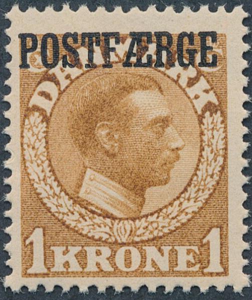 1919. Chr.X, 1 kr. yellow-brown (pos. 44). NH copy. Cert. Møller