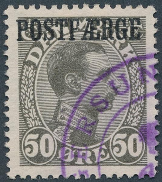 1922. Chr. X, 50 øre, darkgrey. Very fine used copy. AFA 3000+
