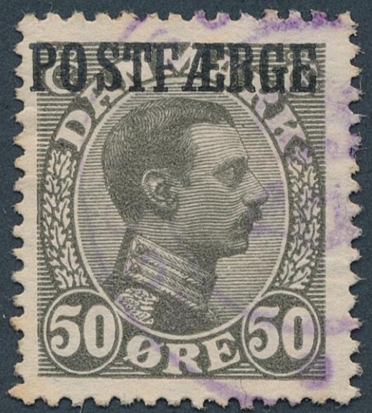 1922. Chr. X, 50 øre, olive. Fine used copy. AFA 3000