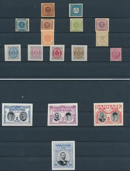 Essay, Reprints and Proofs. Lot on 19 stockcards with mixed material incl. Proof of H.C. Andersen in violet