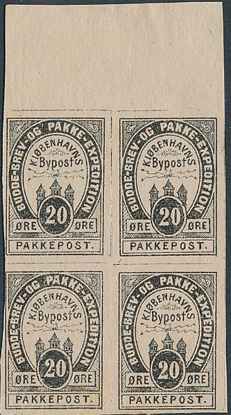 Københavns Townpost. 1887. 20 øre, black. IMPERF. block of four. Daka 1996 28 U: 1200+