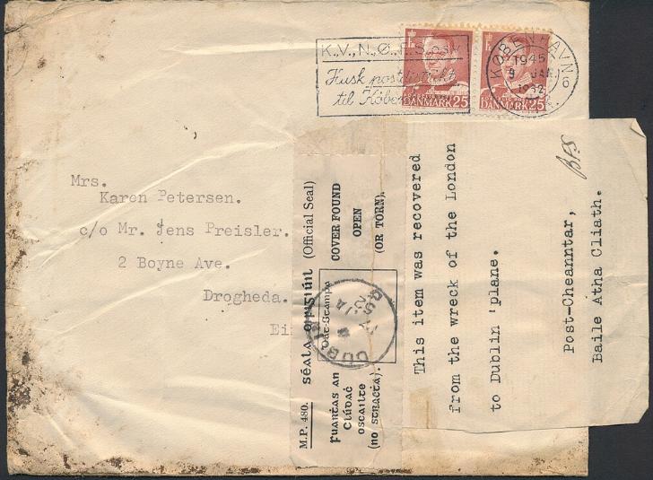 1952. CRASH-cover to Ireland, cancelled in KØBENHAVN 9 JAN 1952
