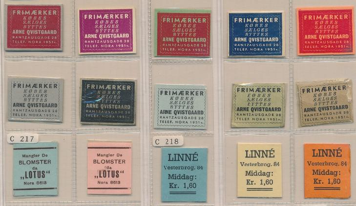 FRIMÆRKEPENGE. 15 forsk. Arne Qvistgaard, Lotus og Linné (15). Ex. Arne Andreasen