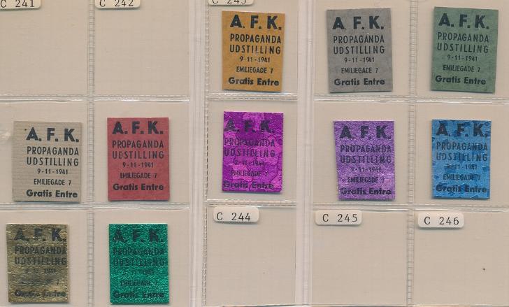 FRIMÆRKEPENGE. A. F. K. Propaganda Udstilling. 10 forskellige. Ex. Arne Andreasen