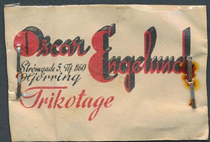 FRIMÆRKEPENGE. Oscar Engelund. Trikotage. Som altid er denne frimærkepenge samlet med hæfteklammer