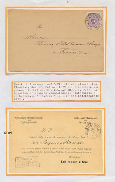 """1879. """"ROTHENKRUG in Schleswig 18.2.79"""" on postcard from Flensburg 17.2.1879 to Fredericia. RARE!"""